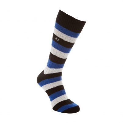 Cotton Black, Blue And White Stripe Sock - Side View