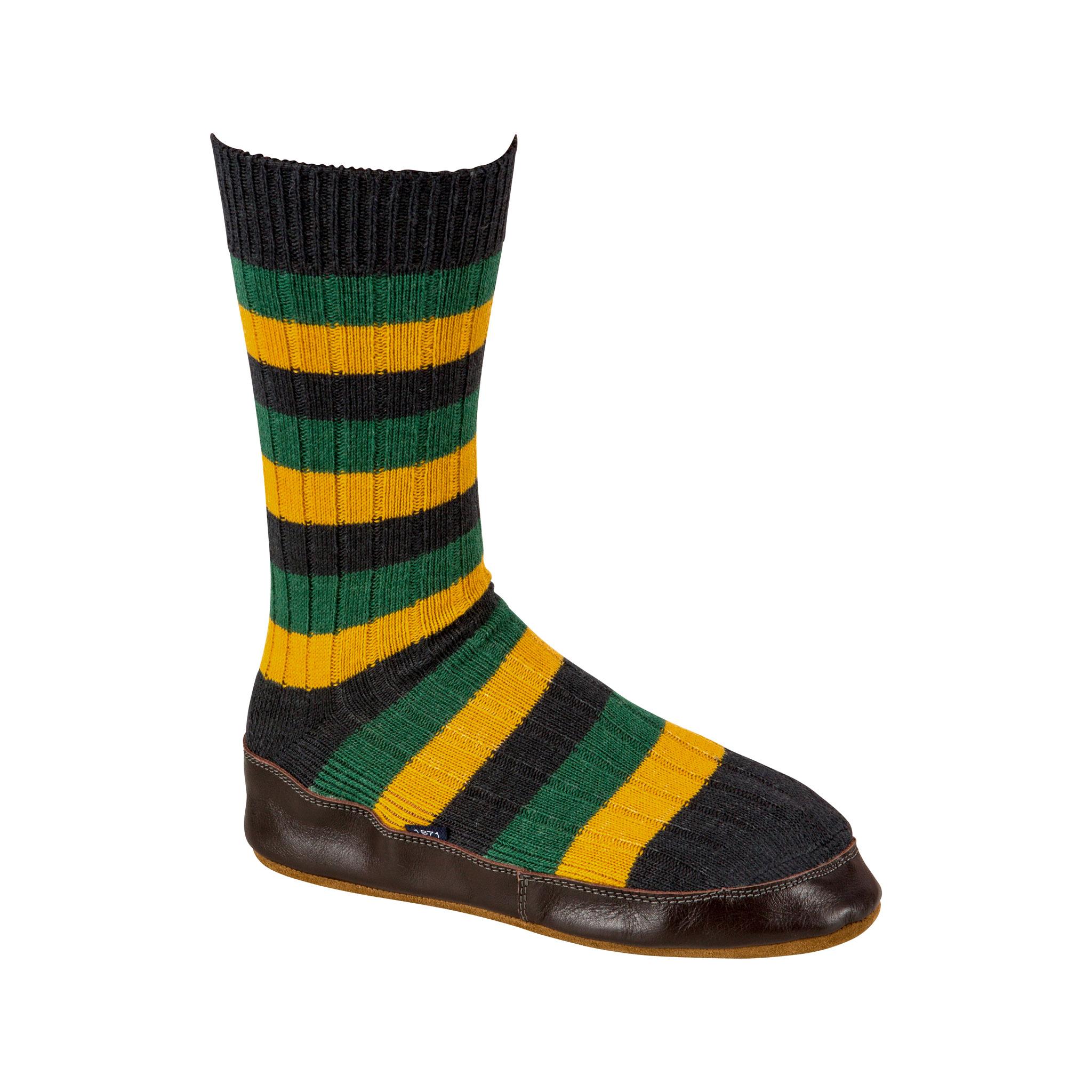 Slipper Sock black, green and mustard stripe