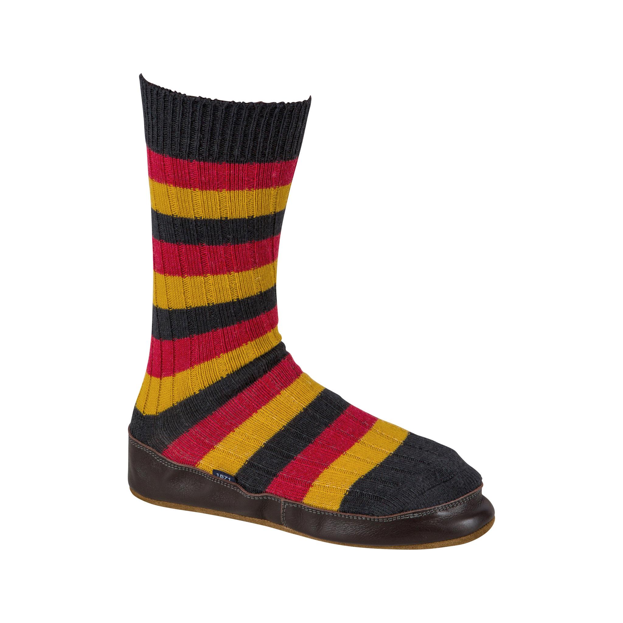 Slipper Sock blue and mustard stripe