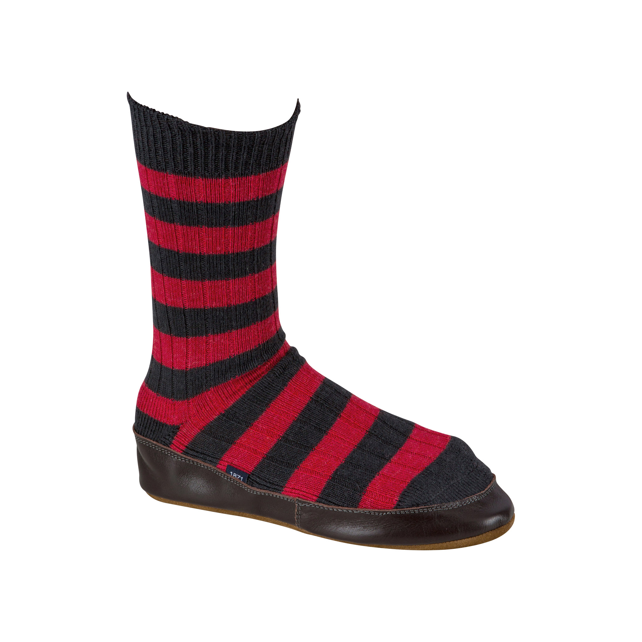 Slipper Sock black and red stripe