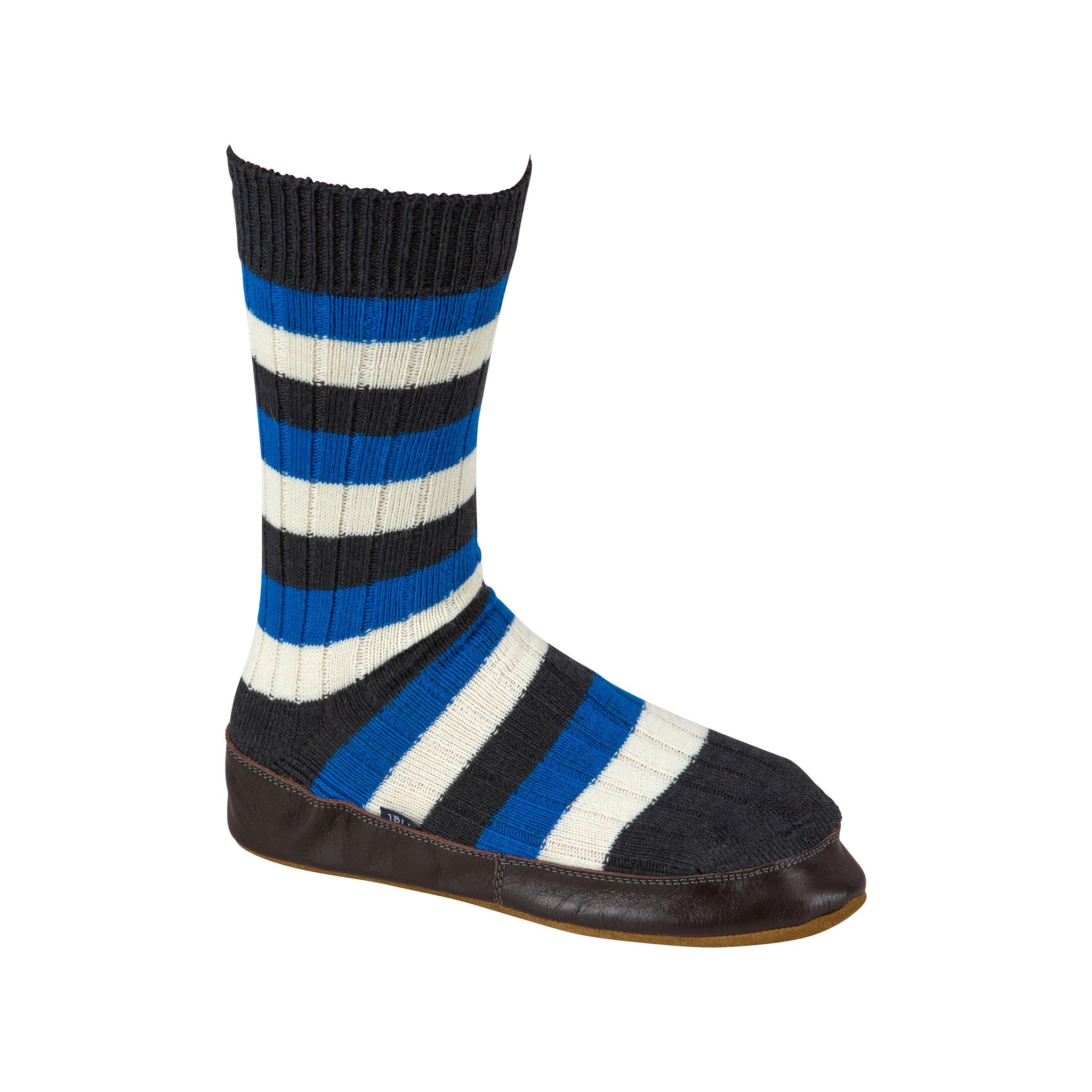 Slipper Sock black, blue and white stripe