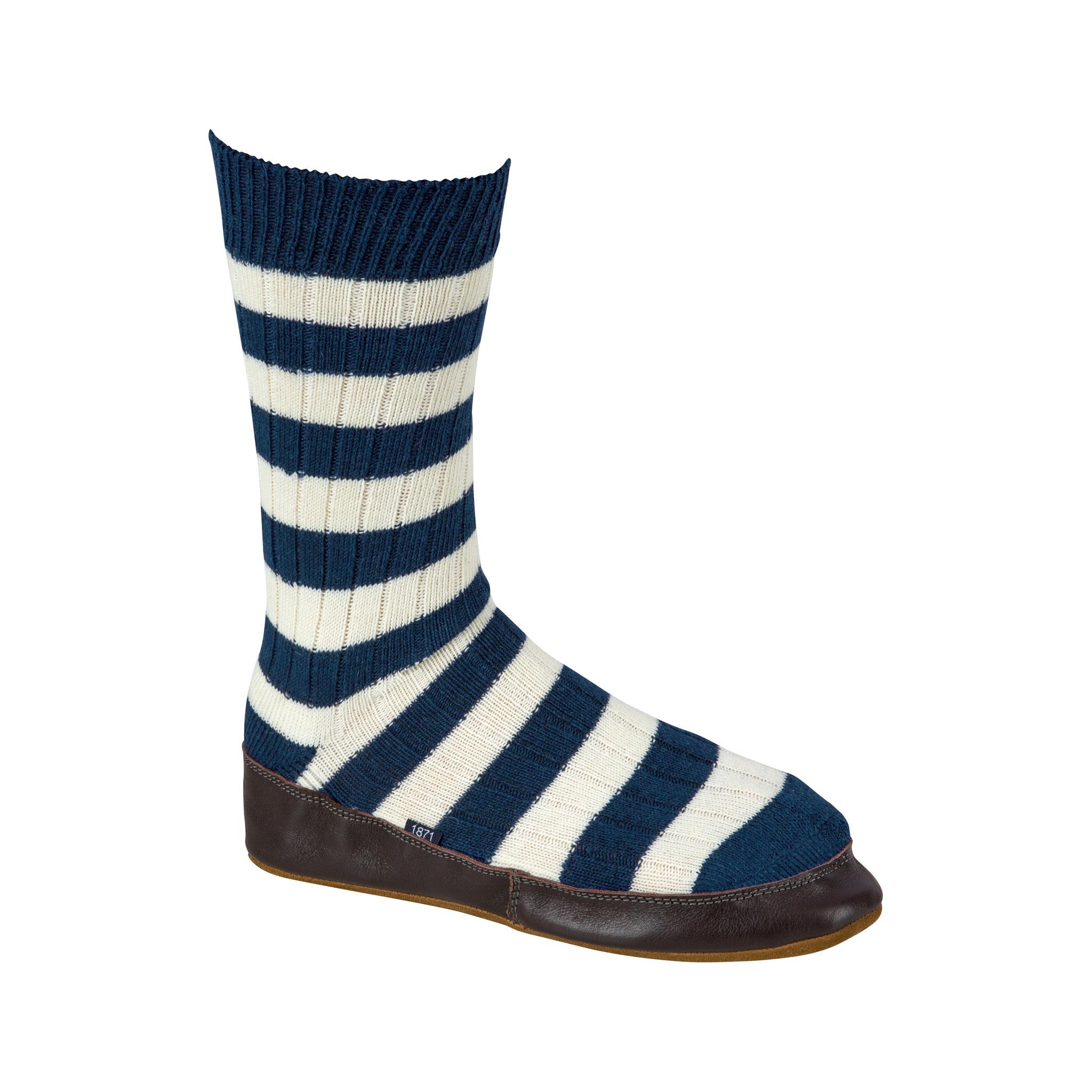 Slipper Sock blue and white stripe