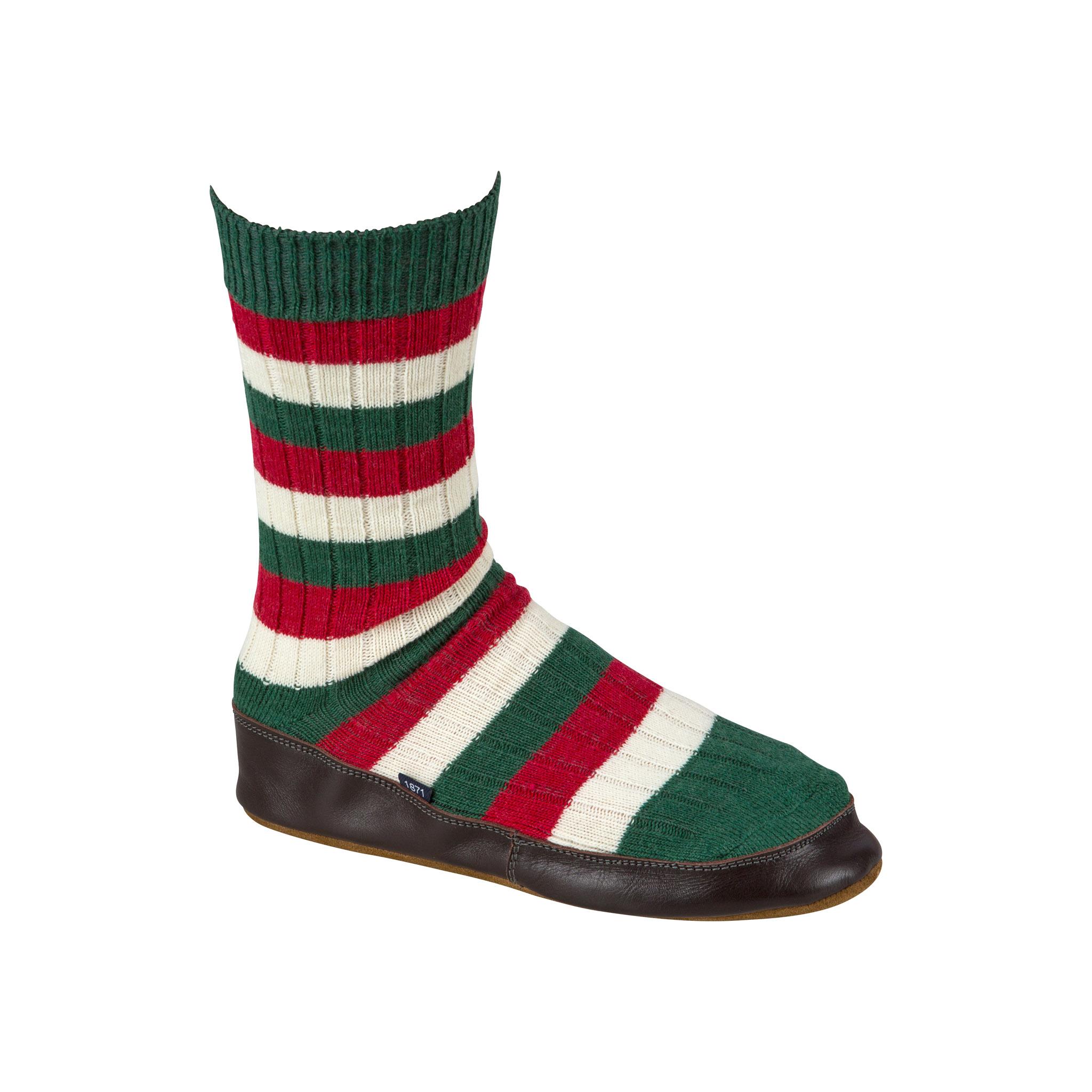 Slipper Sock red, green, white stripe