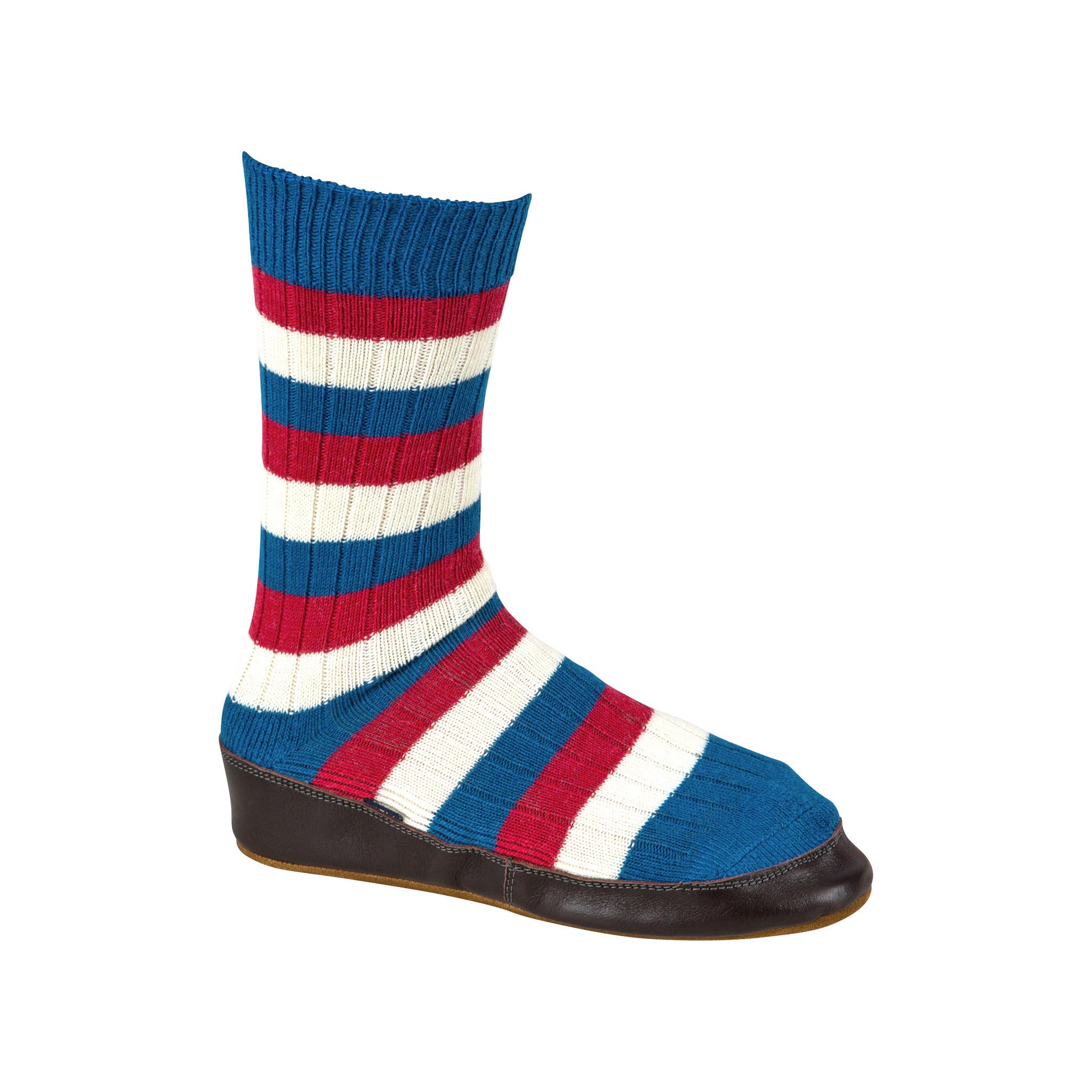 Slipper Sock red, white and blue stripe