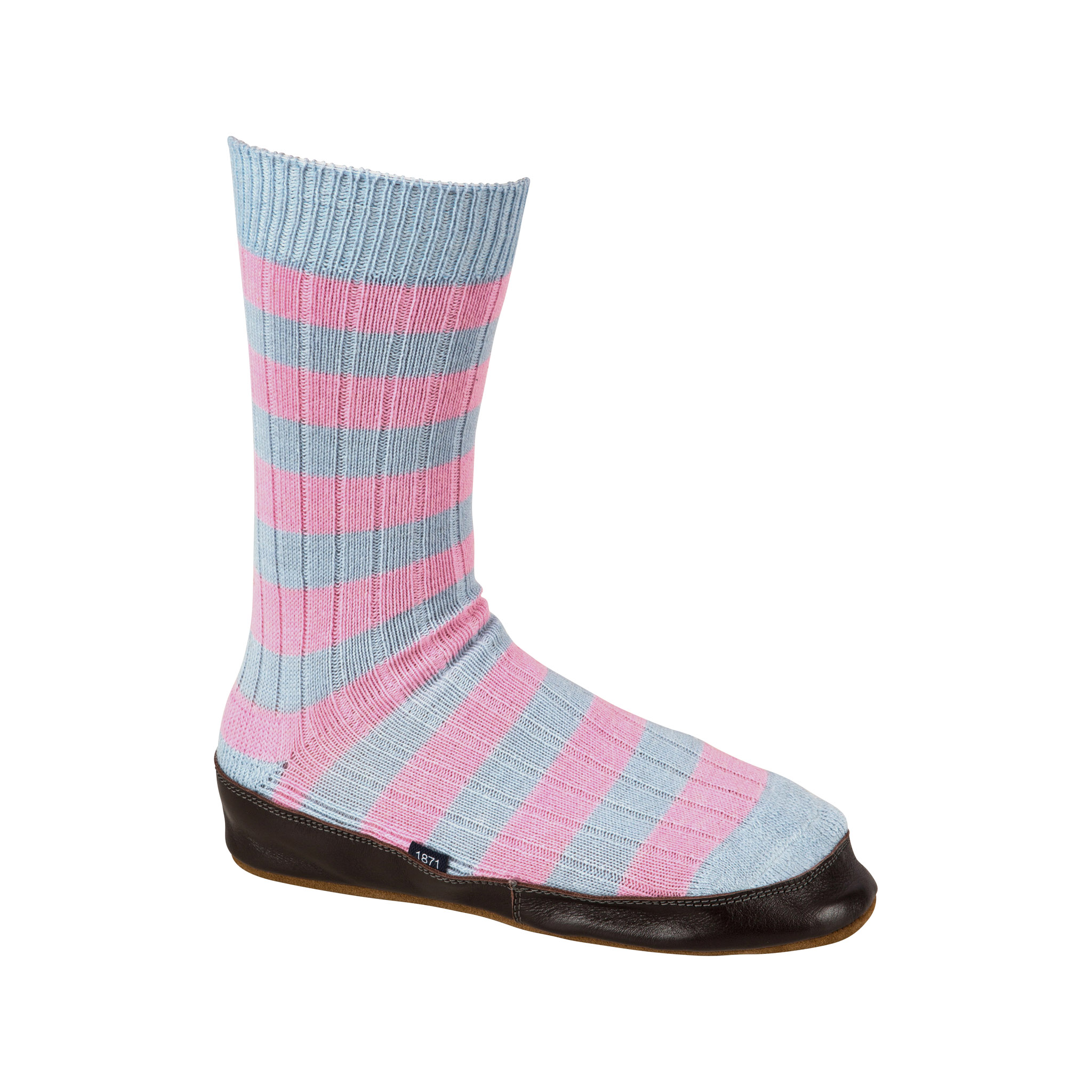 Slipper Sock sky blue and pink stripe