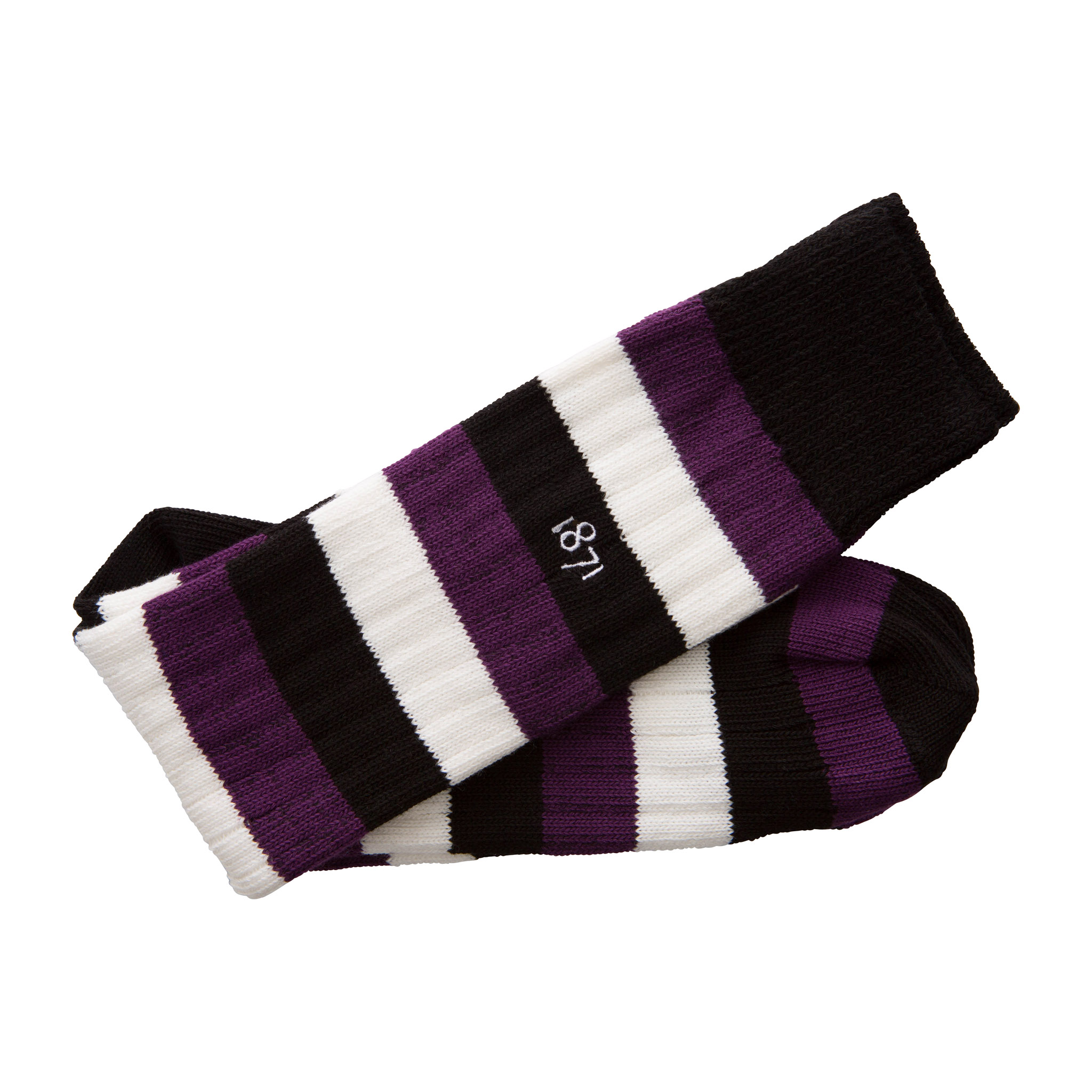 Cotton black, purple and white stripe sock - folded