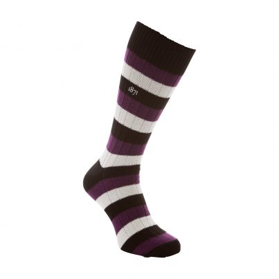 Cotton Black, Purple And White Stripe Sock - Side View
