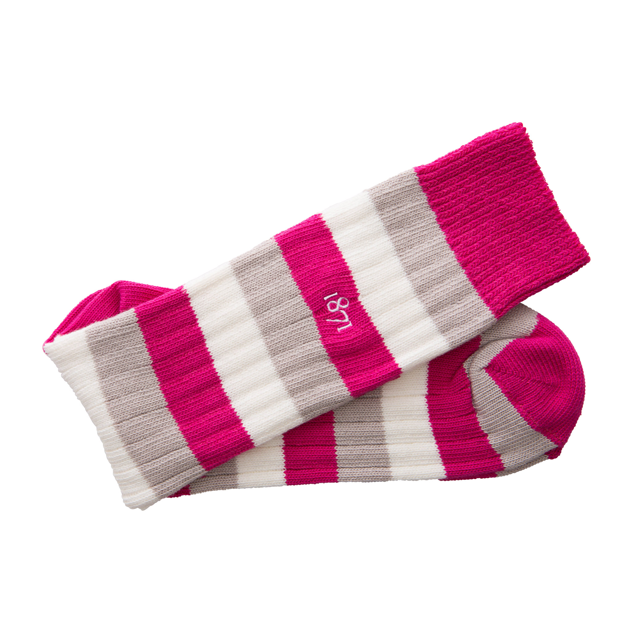 Cotton raspberry, grey and white stripe sock - folded
