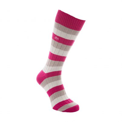 Cotton Raspberry, Grey And White Stripe Sock - Side View
