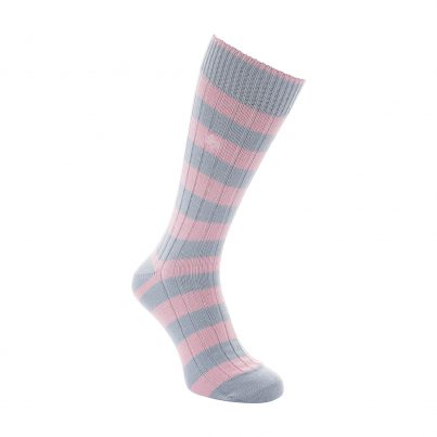 Cottonl Pink And Sky Blue Stripe Sock - Side View