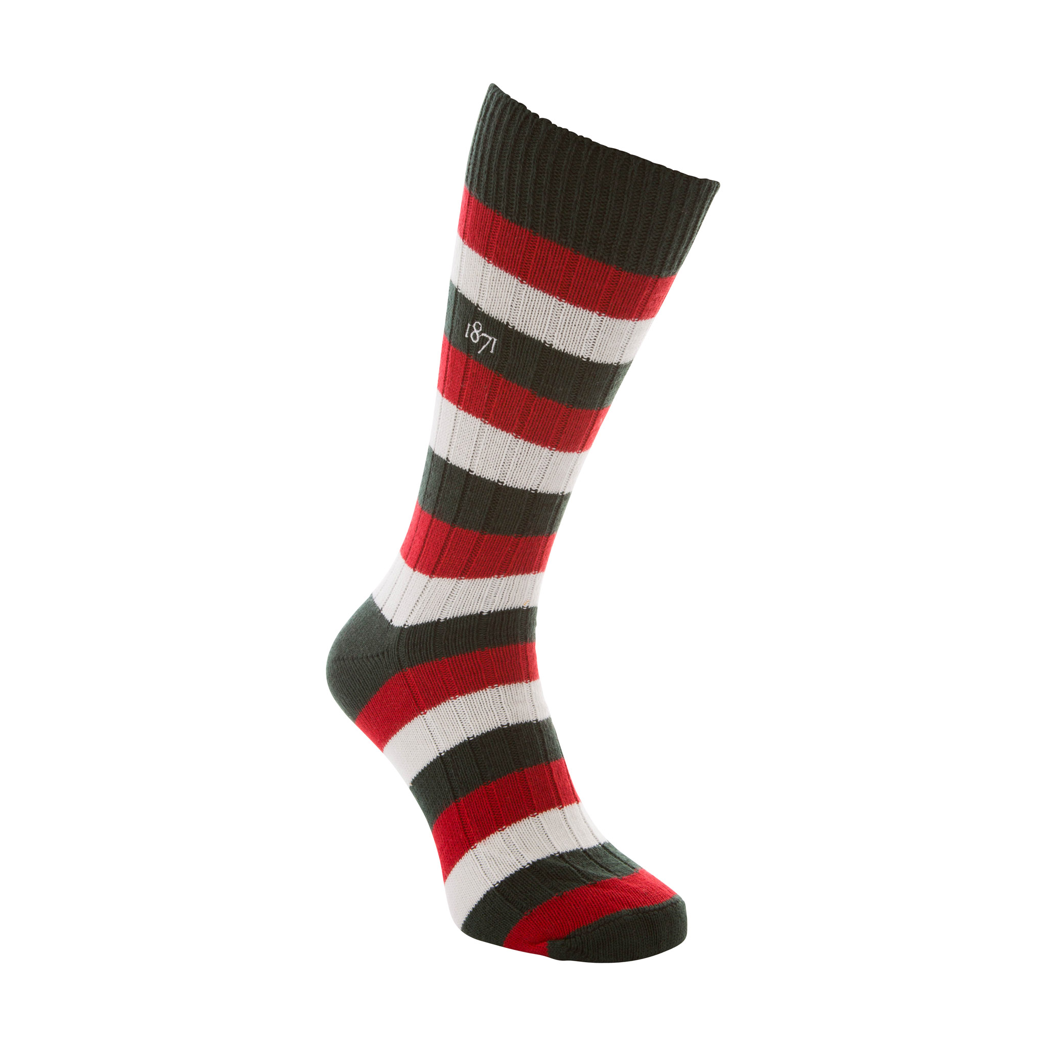 Cotton green, red and white stripe sock - side view