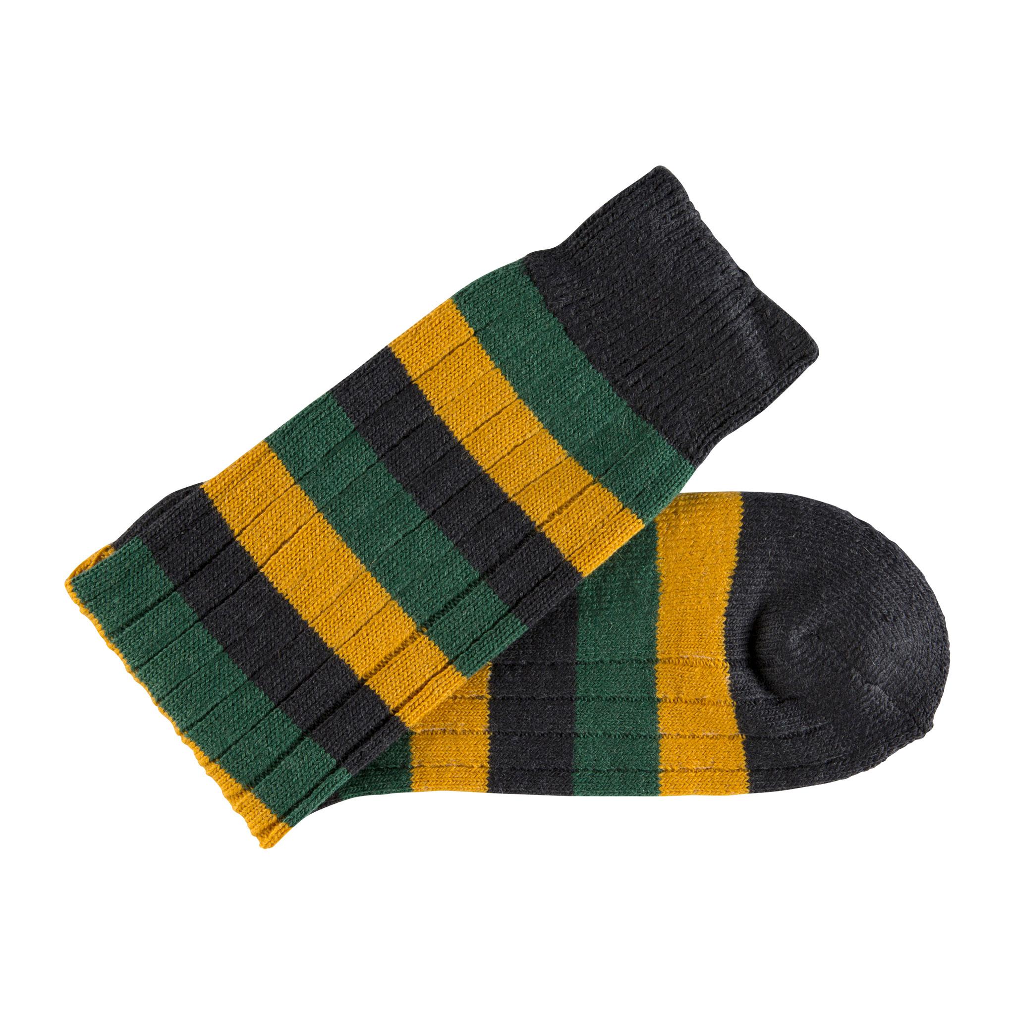 Merino Wool black, green and mustard stripe sock - folded