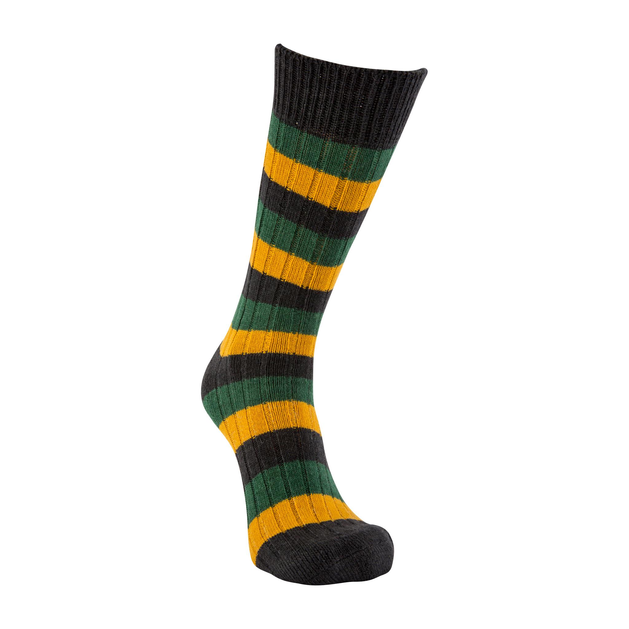 Merino Wool black, green and mustard stripe sock