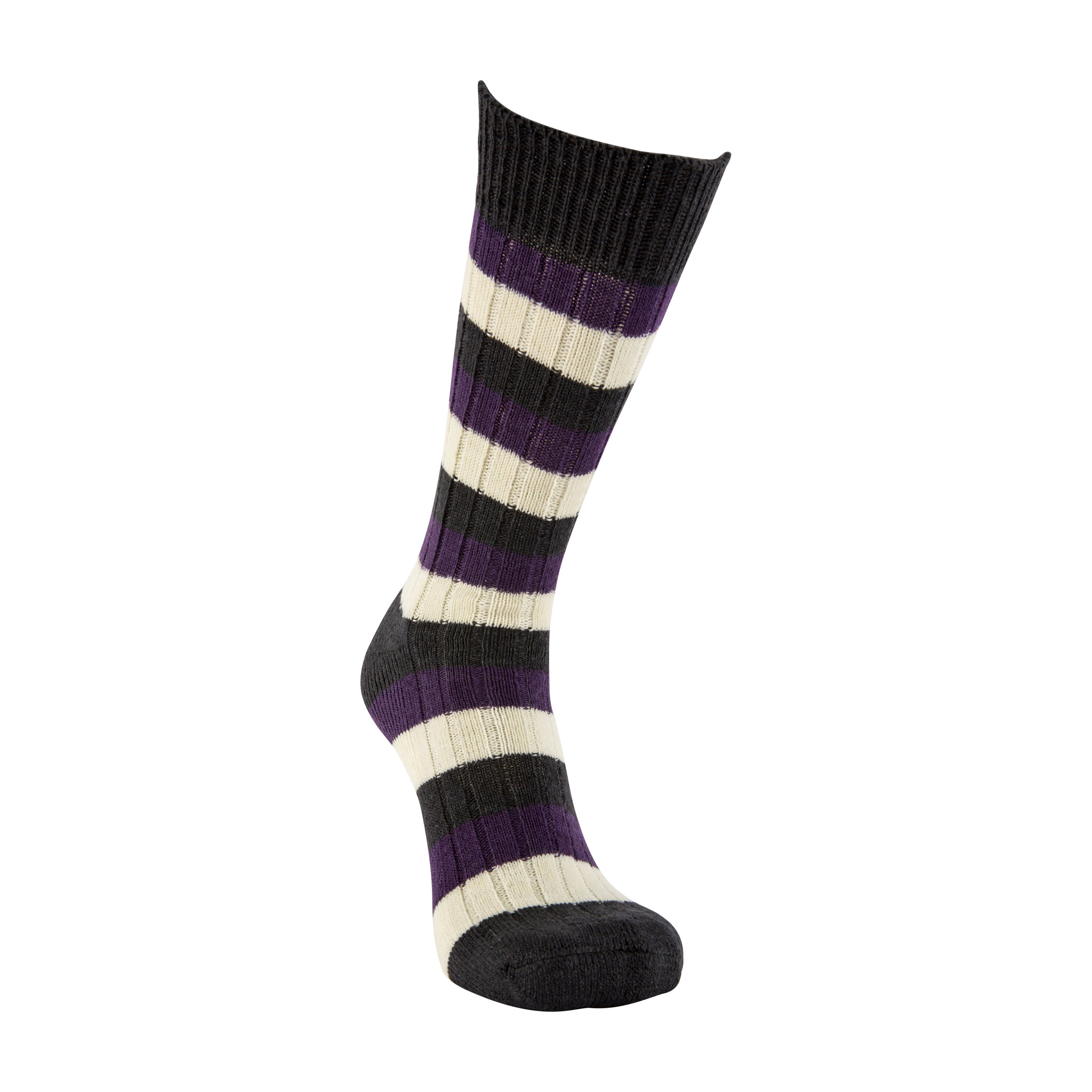Merino Wool black, purple and white stripe sock
