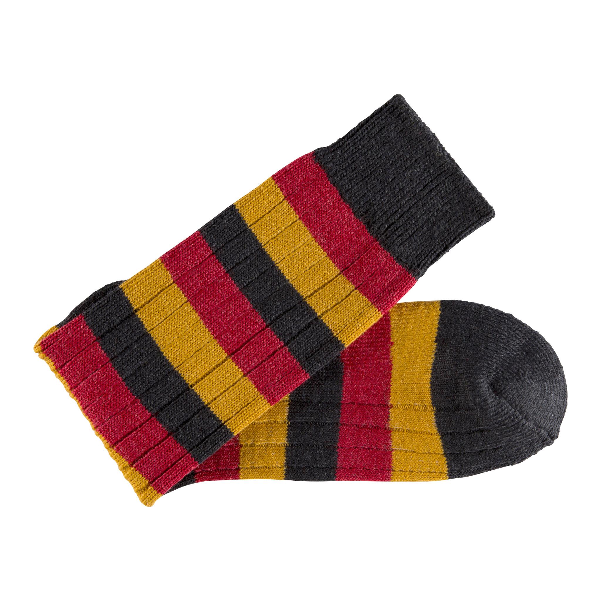 Merino Wool black, red and mustard stripe sock - folded