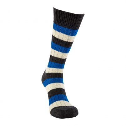 Merino Wool Black, Blue And White Stripe Sock