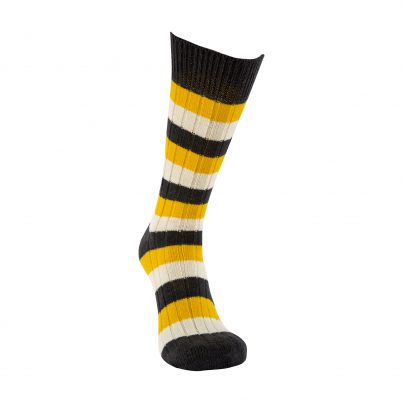 Merino Wool Black, Yellow And White Stripe Sock