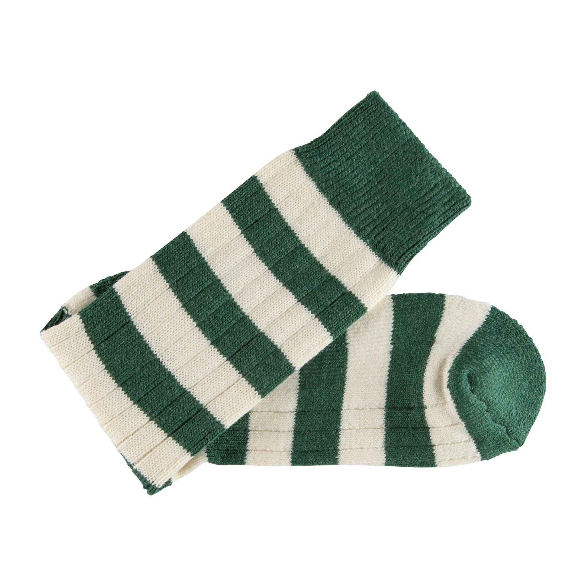 West Kent Heritage Merino Wool green and white stripe sock - folded
