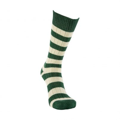 Merino Wool Green And White Stripe Sock