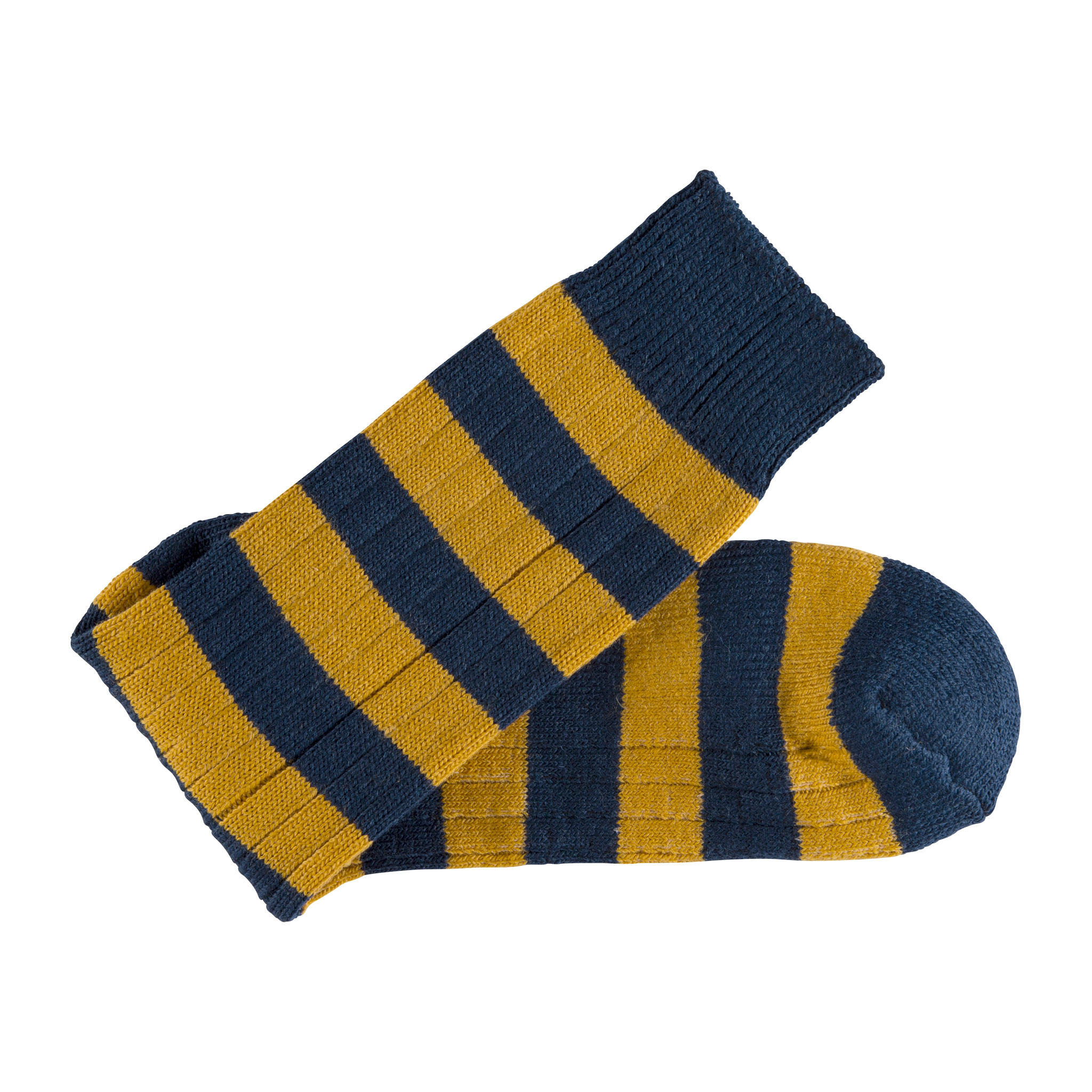 Merino Wool blue and mustard stripe sock - folded