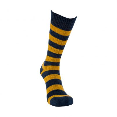 Merino Wool Blue And Mustard Stripe Sock