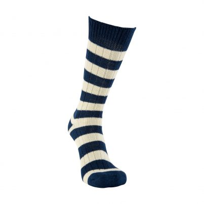Merino Wool Blue And White Stripe Sock
