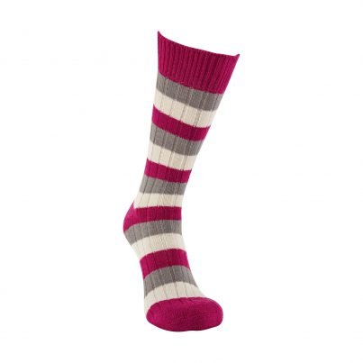 Merino Wool Raspberry, Grey And White Stripe Sock