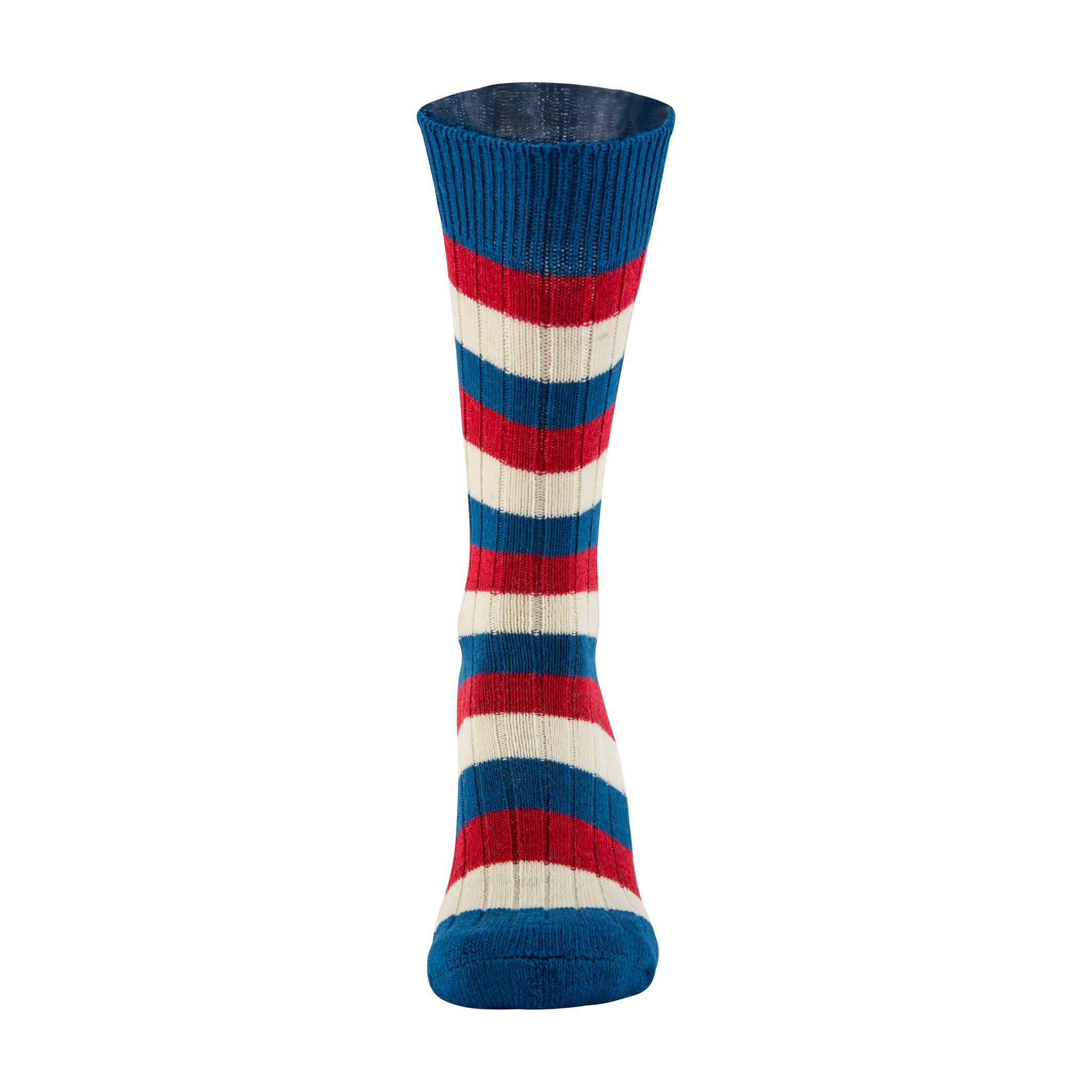 Merino Wool red, white and blue stripe sock - front
