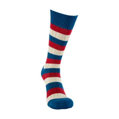 Merino Wool Red, White And Blue Stripe Sock