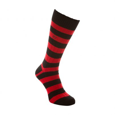 Cotton Black And Red Stripe Sock - Side View