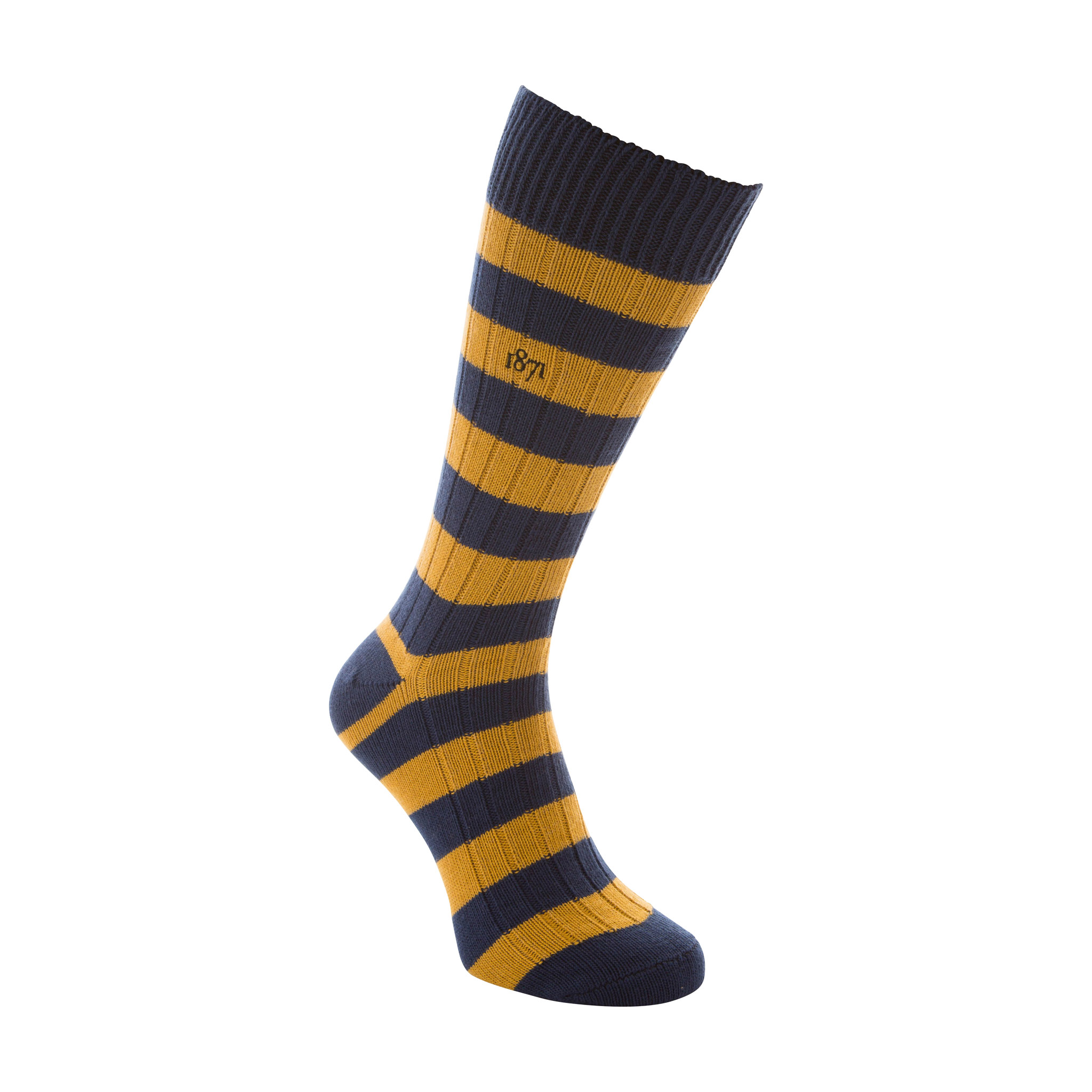 Cotton blue and mustard stripe sock - side view
