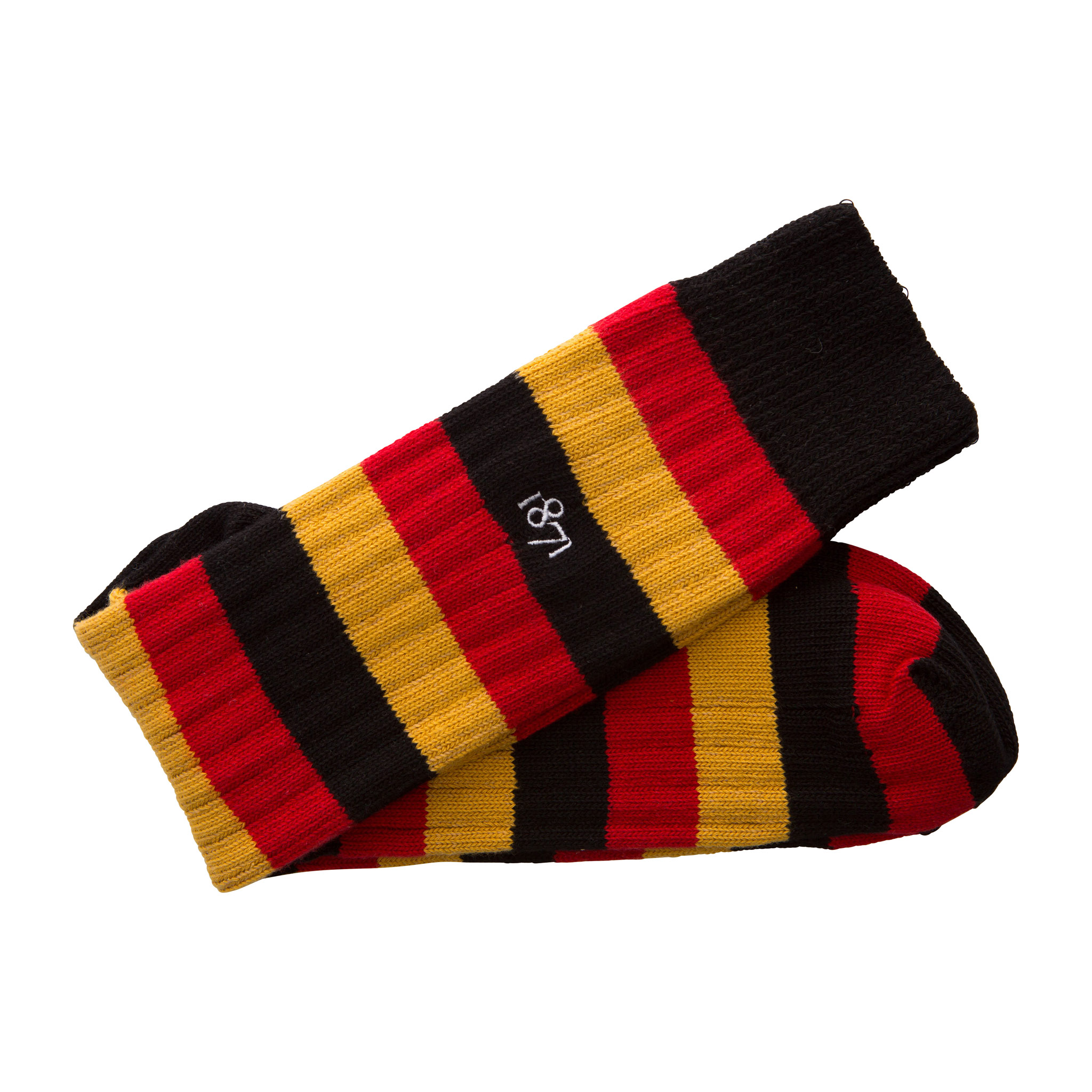 Cotton black, red and mustard stripe sock - folded