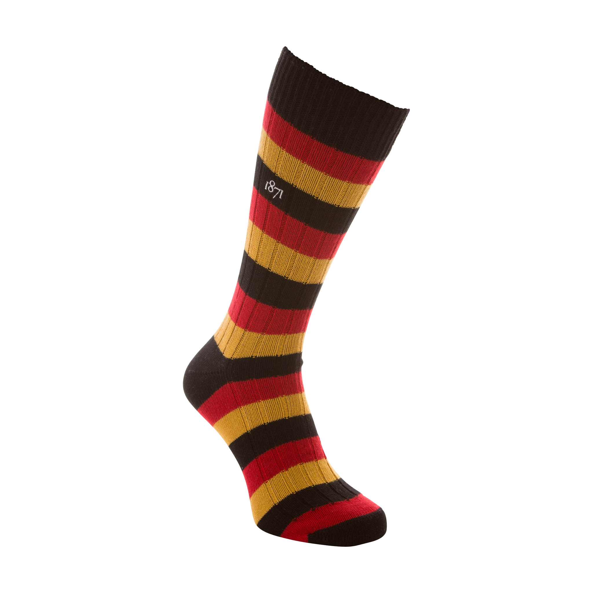 Cotton black, red and mustard stripe sock - side view