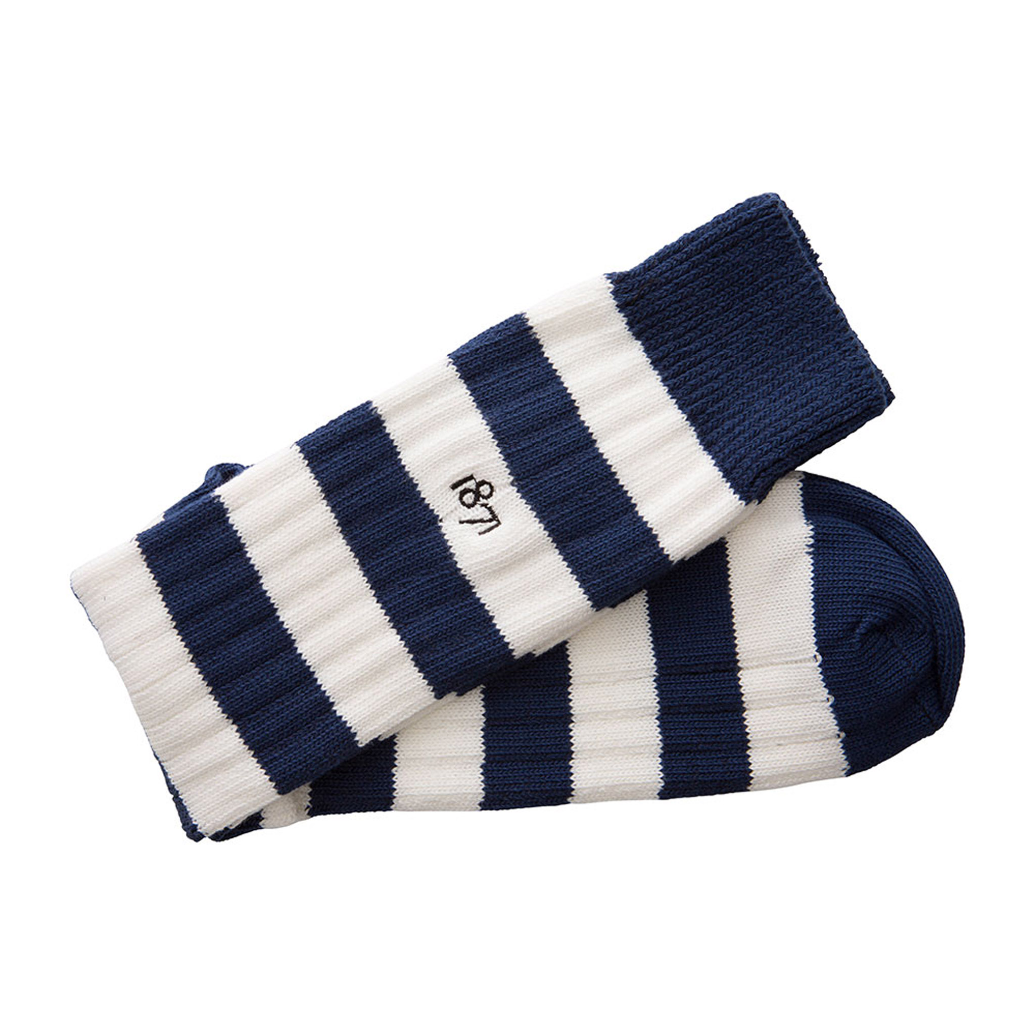 Cotton blue and white stripe sock - folded