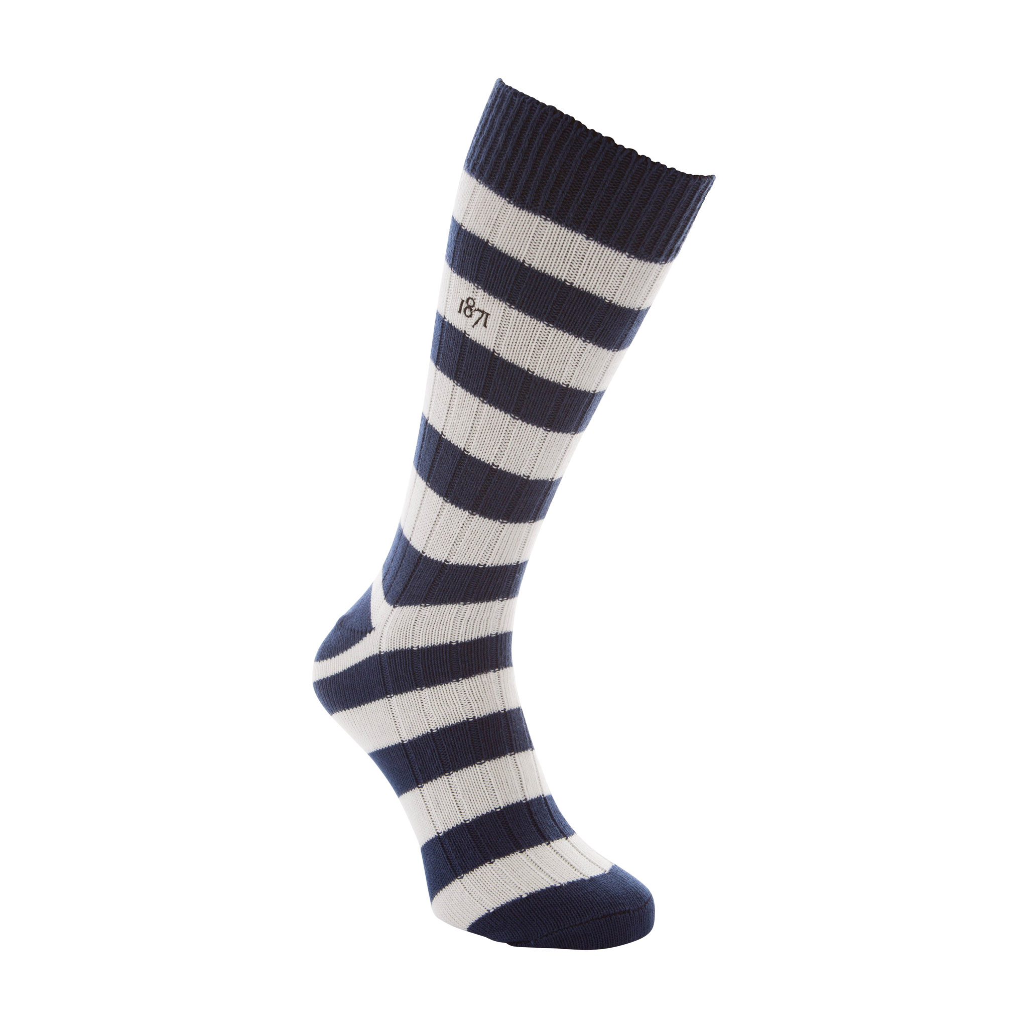 Cotton blue and white stripe sock - side view