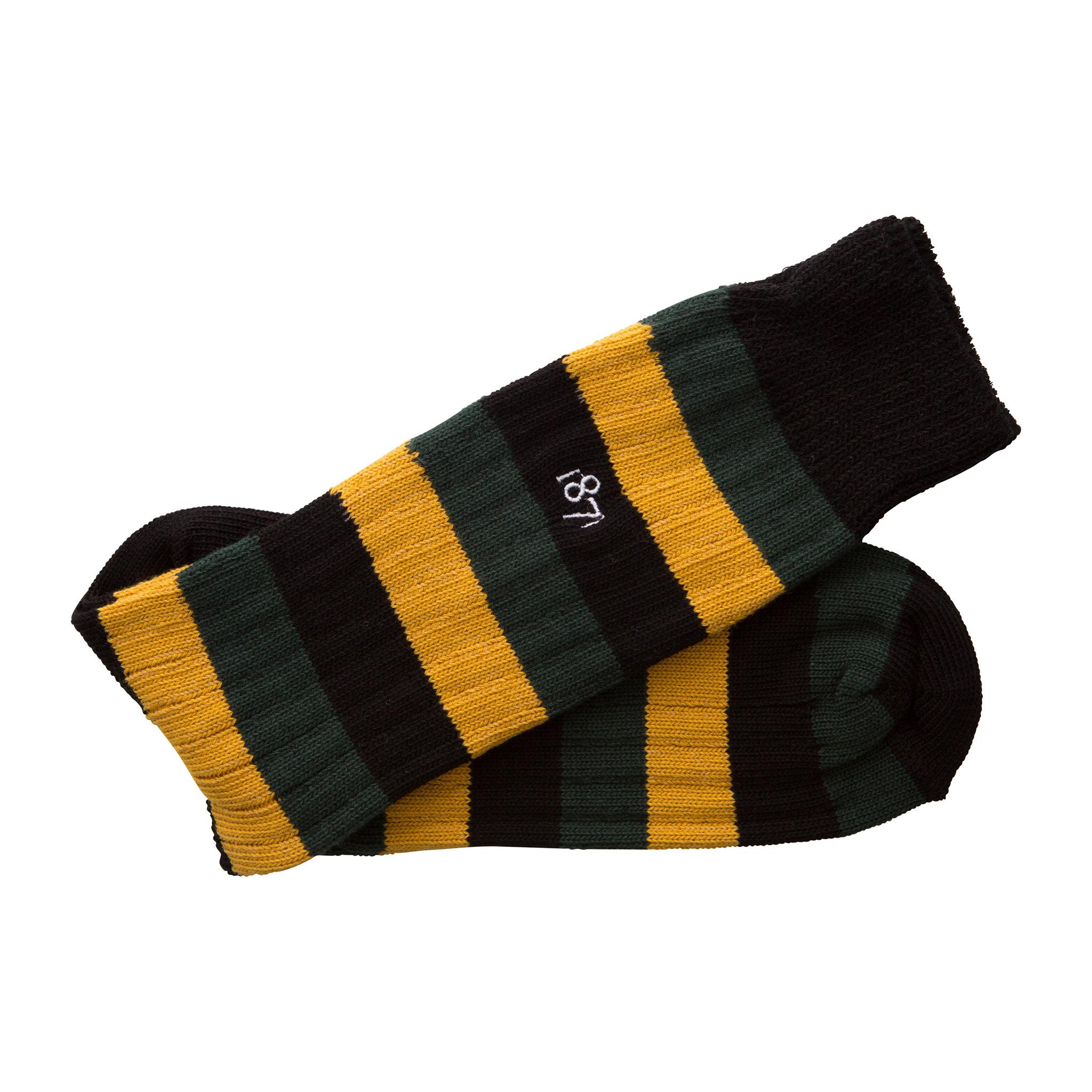 Cotton black, green and mustard stripe sock - folded