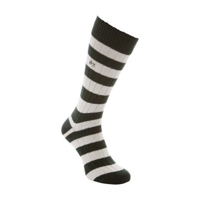 Cotton Green And White Stripe Sock - Side View