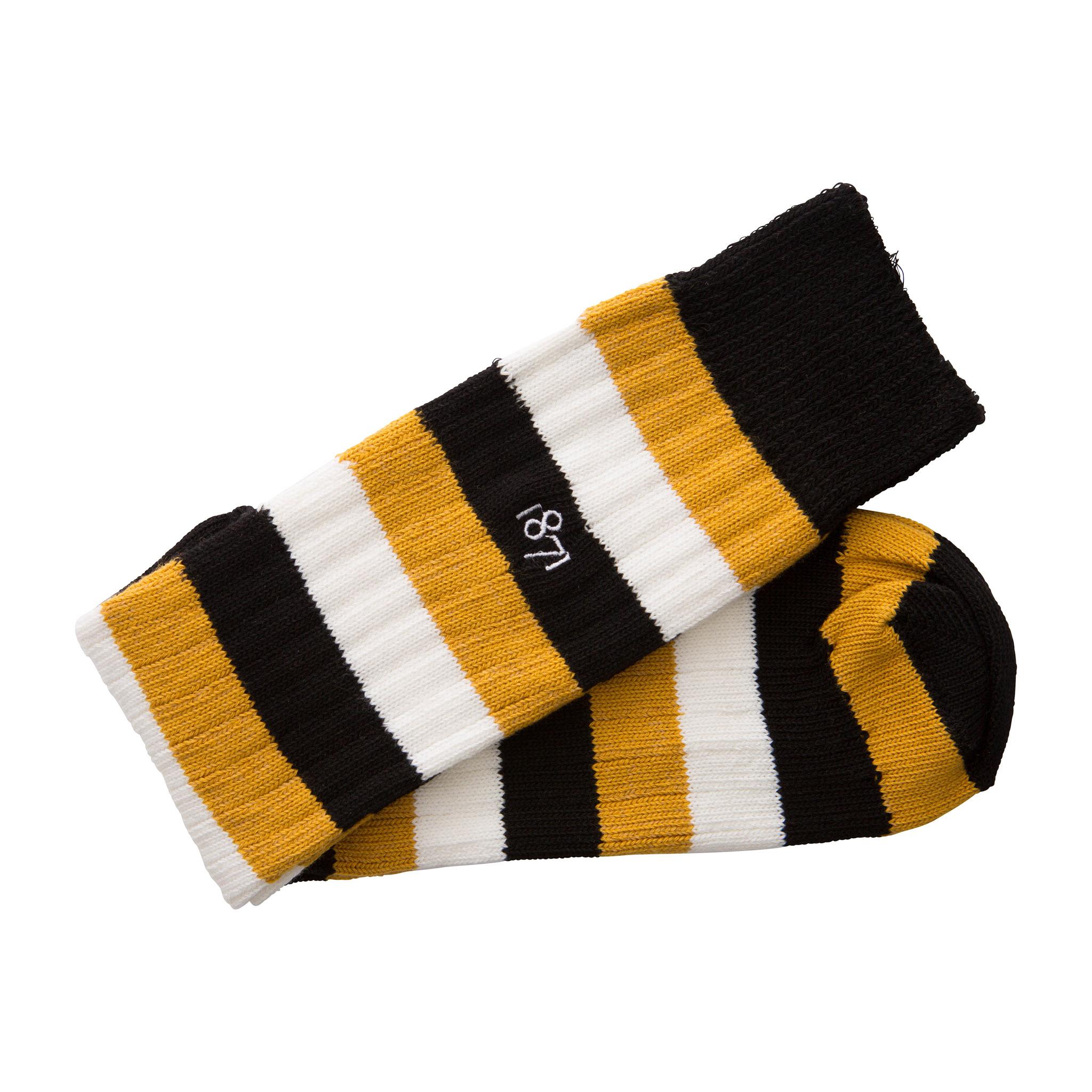 Cotton black, yellow and white stripe sock - folded