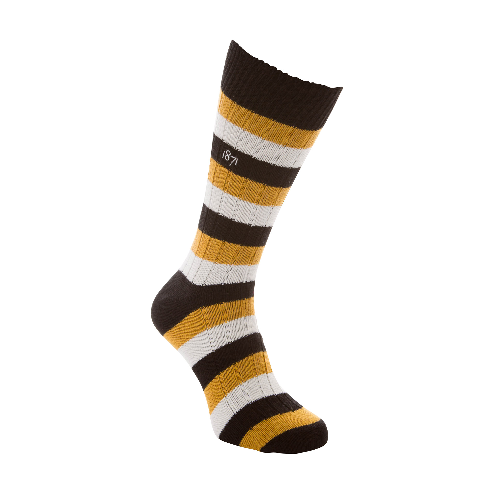 Cotton black, yellow and white stripe sock - side view