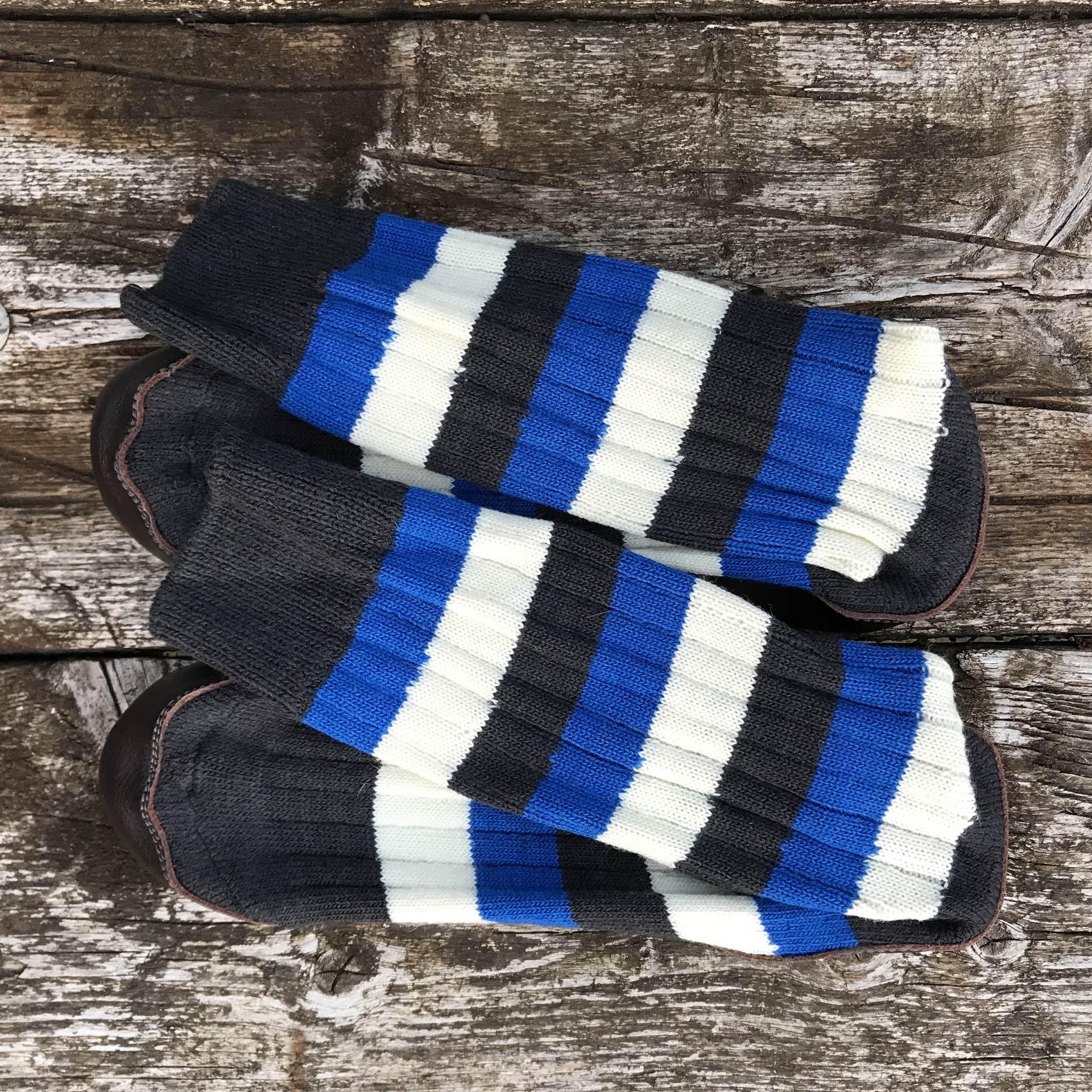 Addison Slipper Sock black, blue and white stripe - overhead view