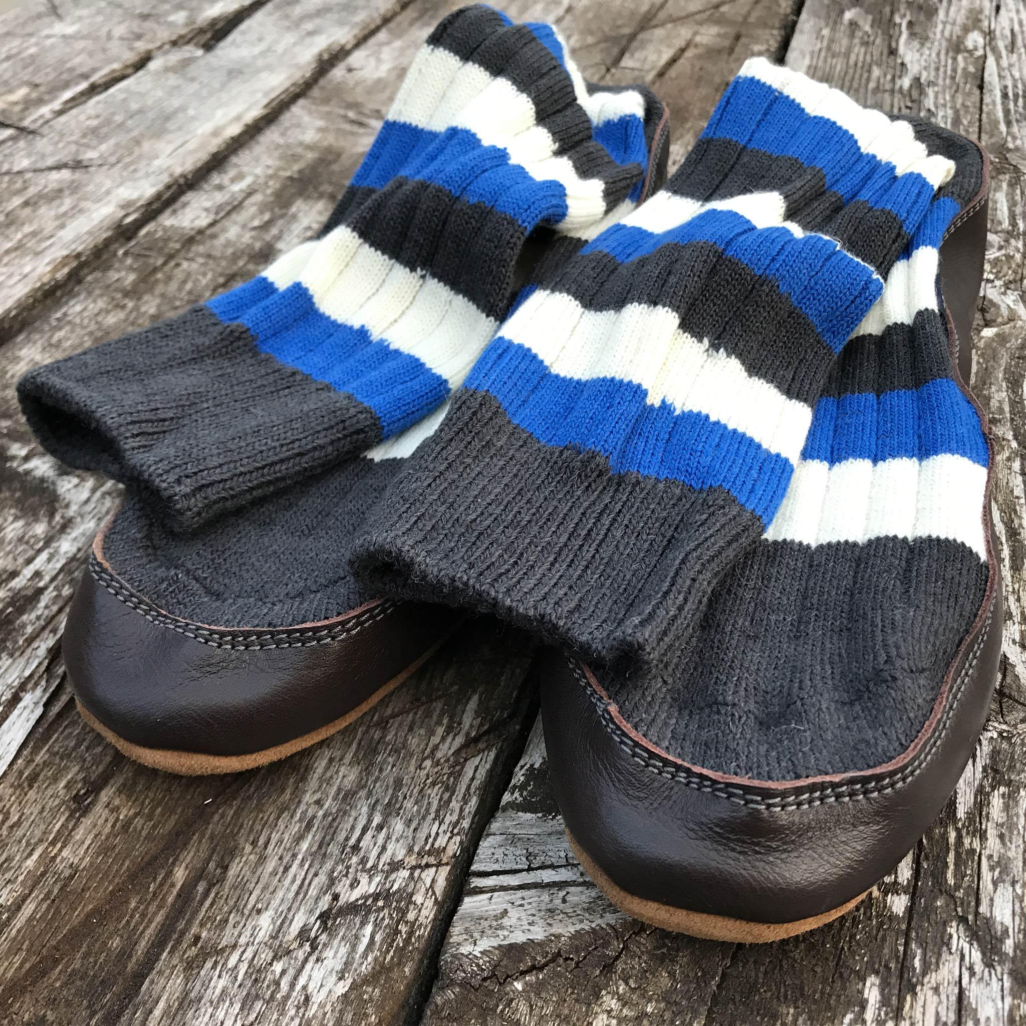Slipper Sock black, blue and white stripe - front view