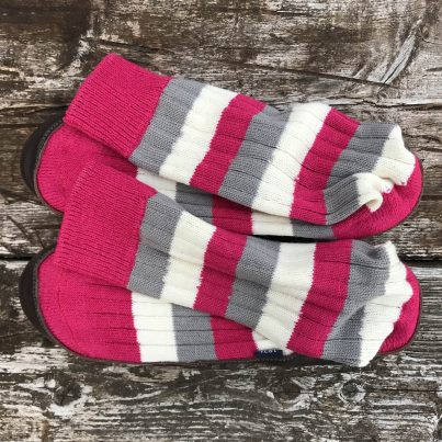 Slipper Sock Raspberry, Grey And White Stripe - Overhead View