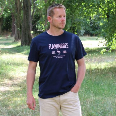 Flamingoes Navy T-shirt Model