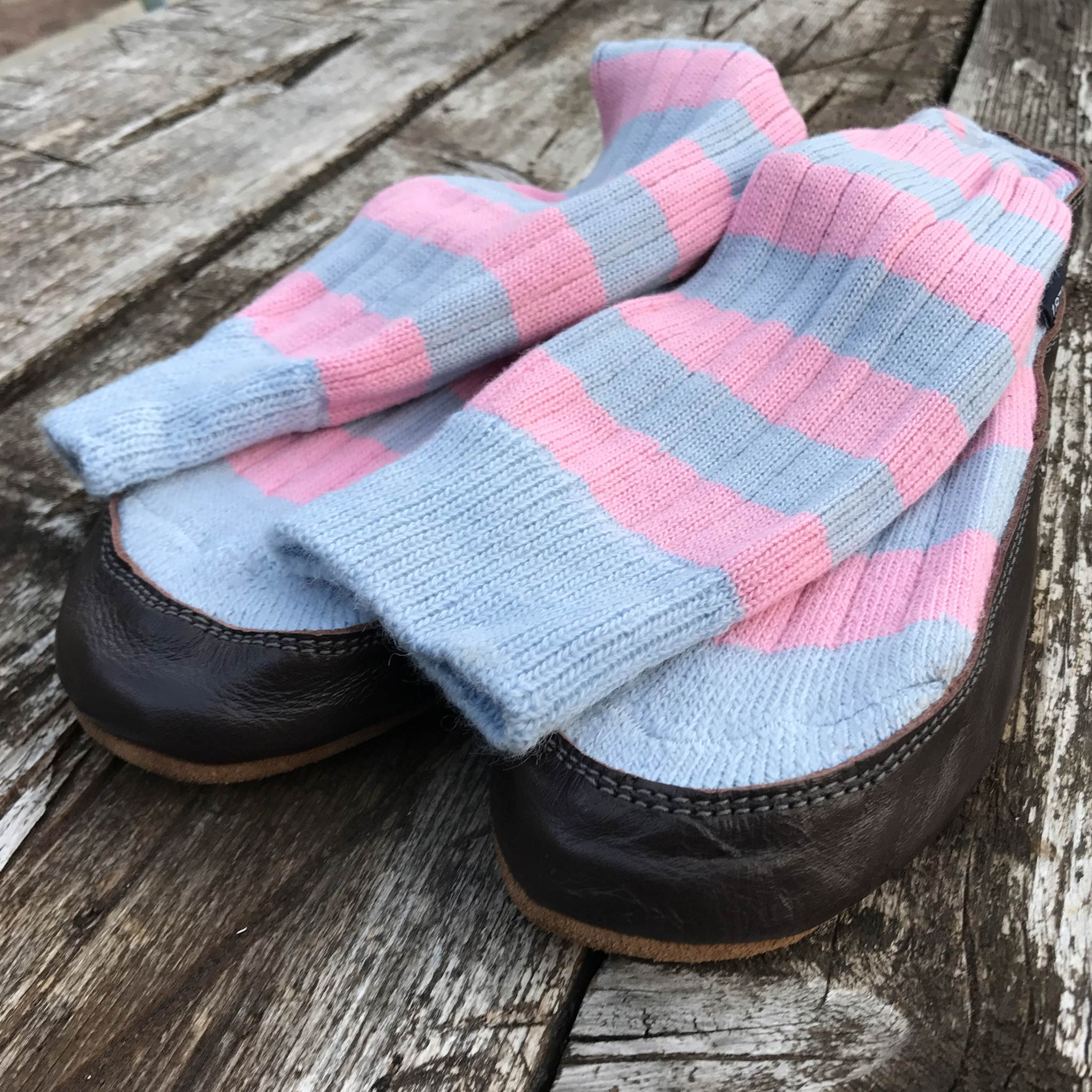 Slipper Sock sky blue and pink stripe - front view