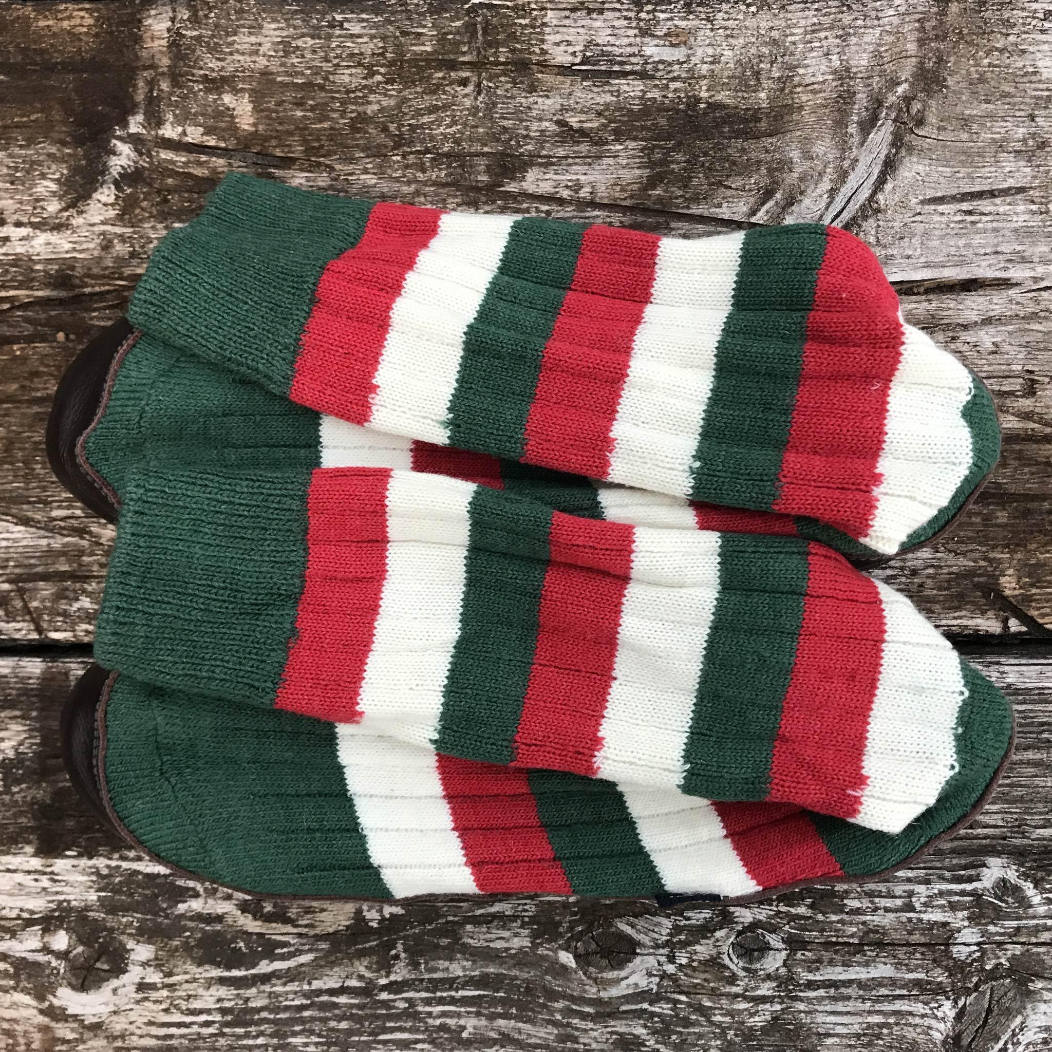 Slipper Sock red, green, white stripe - overhead view