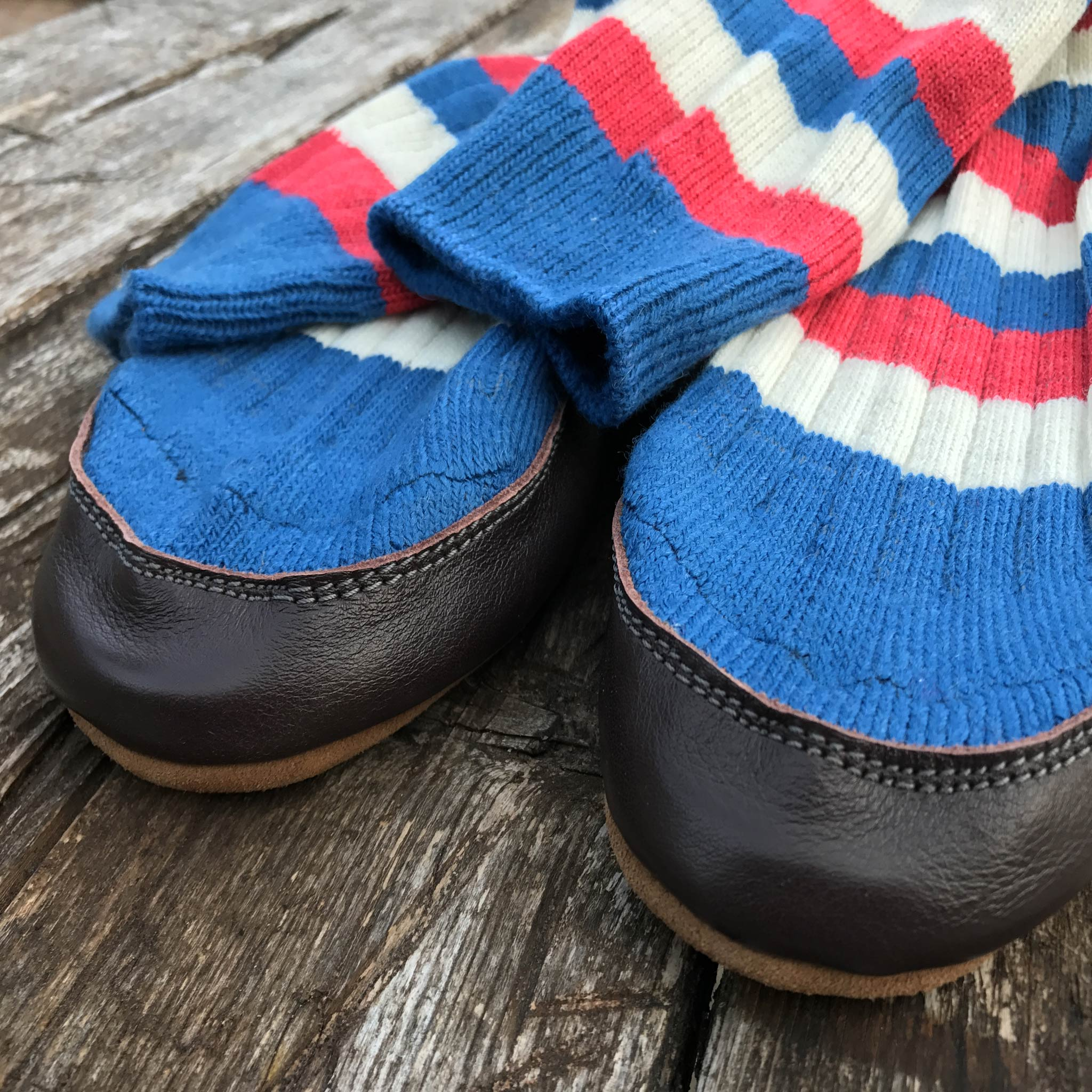 Slipper Sock red, white and blue stripe - front view