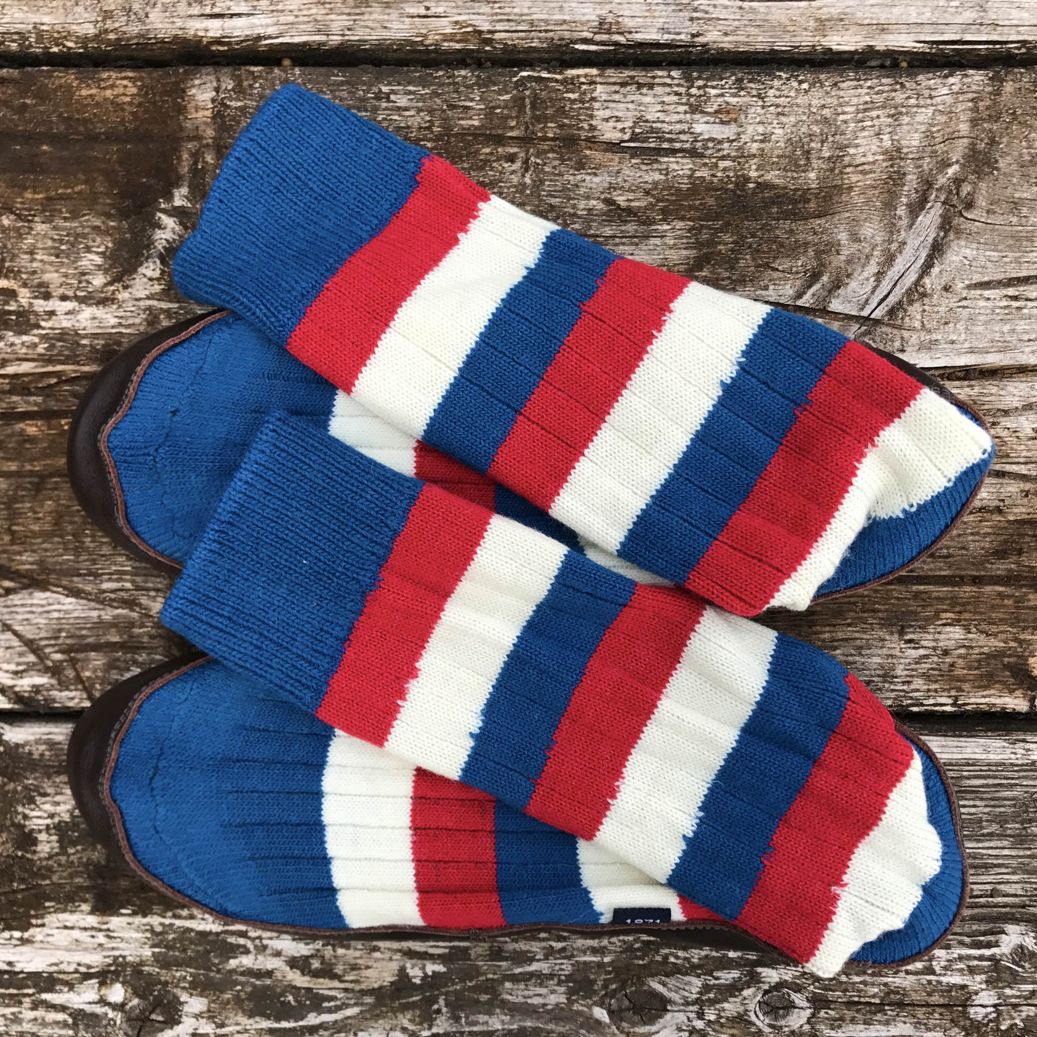 Slipper Sock red, white and blue stripe - overhead view