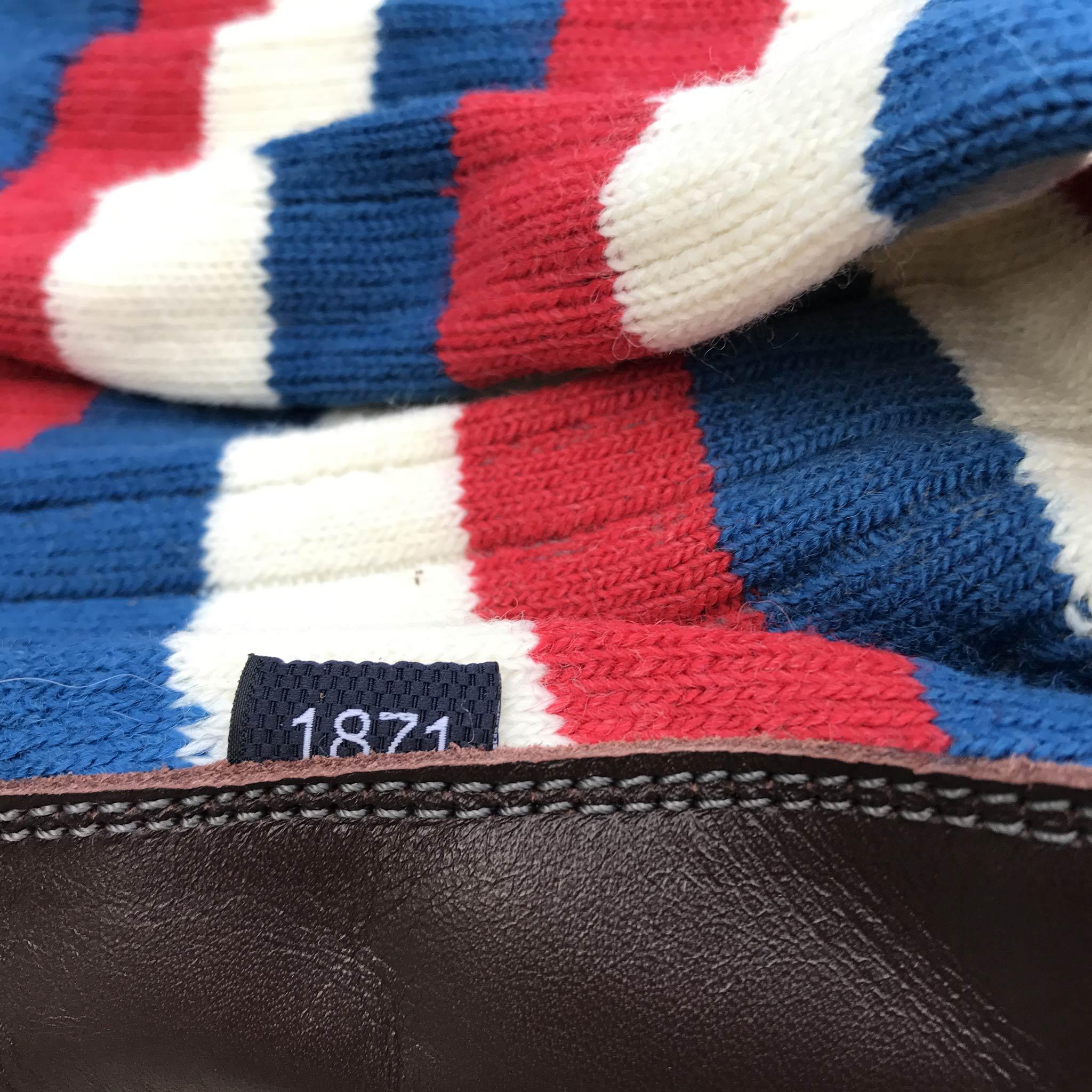 Slipper Sock red, white and blue stripe - closeup