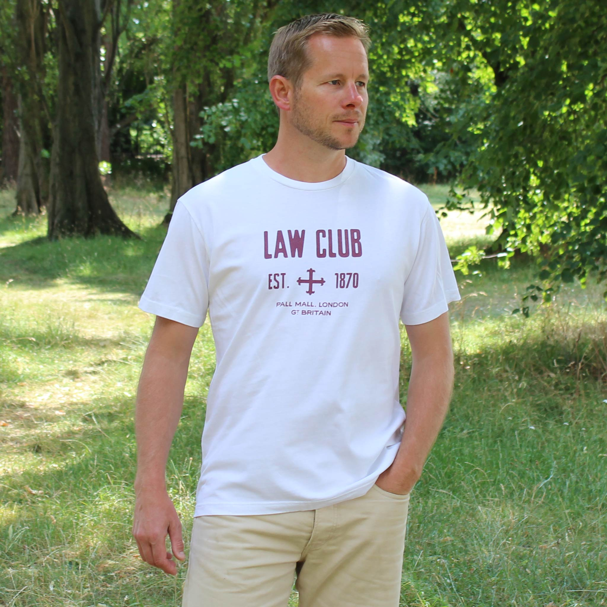 Law Club White T-shirt model