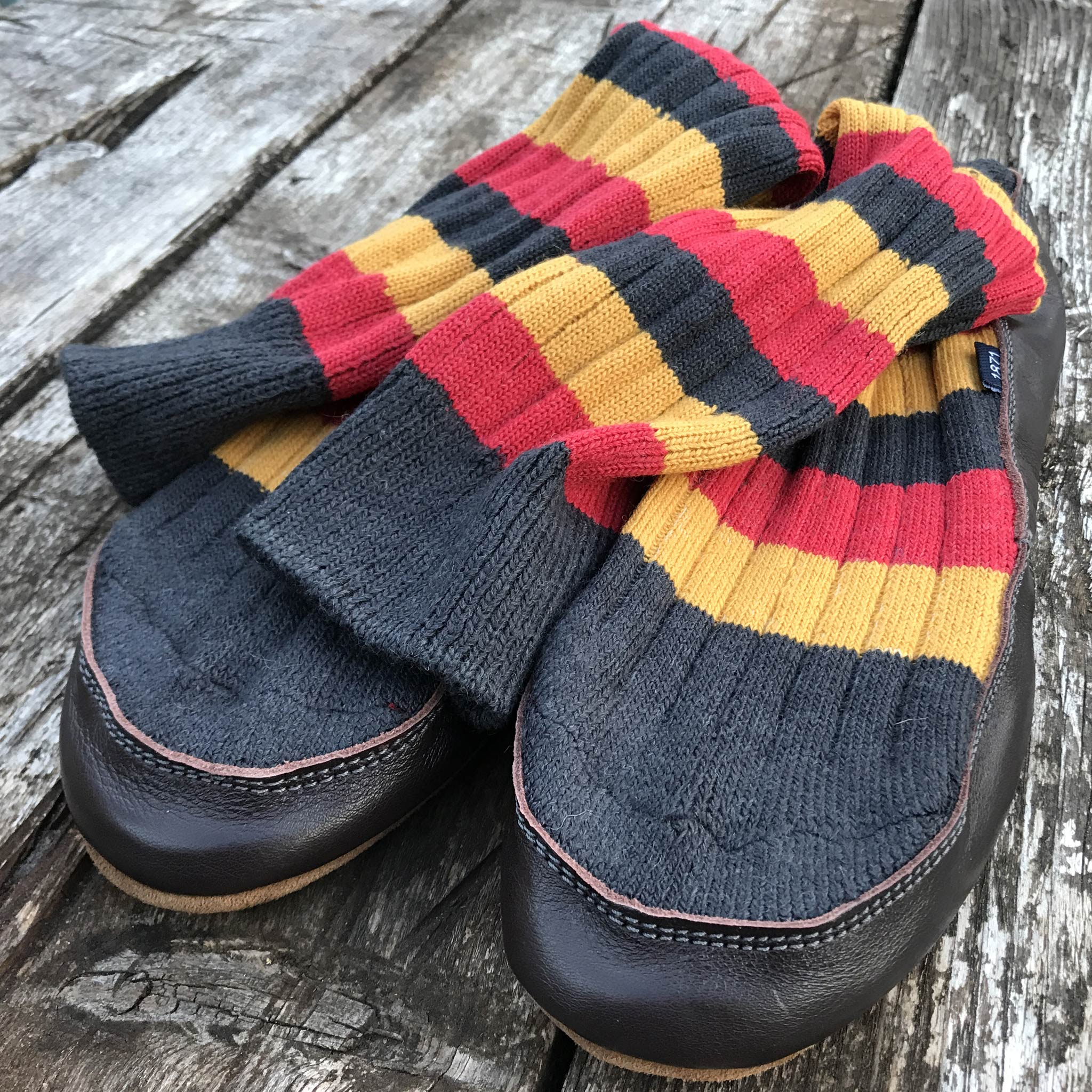 Slipper Sock black red and mustard stripe - front view